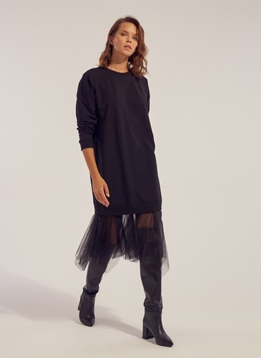 Monamoda Tül Detaylı Sweat Elbise Siyah